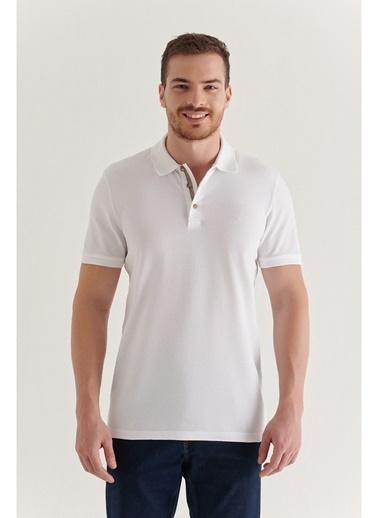 Avva Erkek Polo Yaka Düz T-Shirt A11B1174 Beyaz